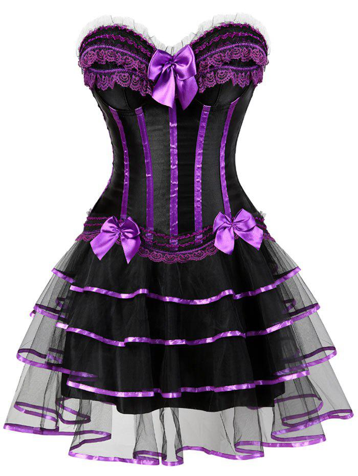 Online Lace-up Two Piece Corset Dress