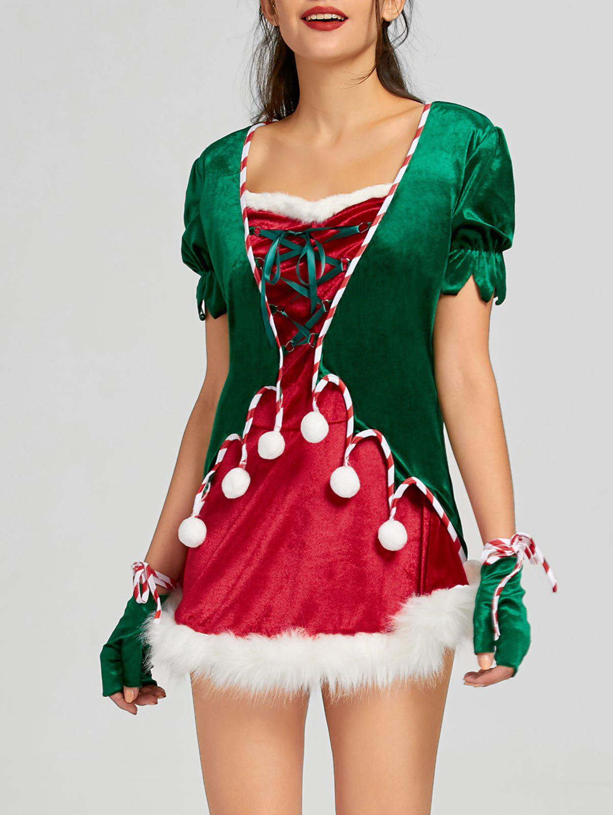 Discount Christmas Lace Up Short Dress with Hat and Gloves
