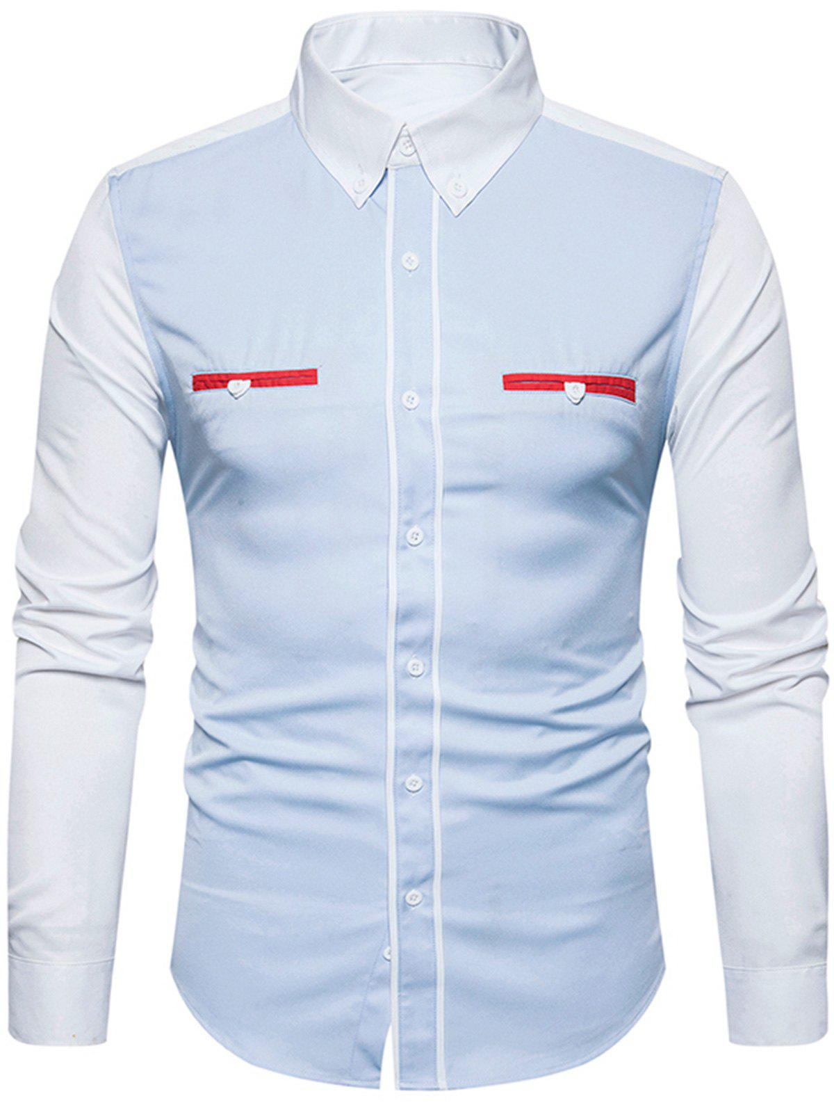 Color Block Panel Edging Button Down ShirtMEN<br><br>Size: L; Color: LIGHT BLUE; Shirts Type: Casual Shirts; Material: Cotton,Polyester; Sleeve Length: Full; Collar: Turndown Collar; Pattern Type: Solid; Weight: 0.3200kg; Package Contents: 1 x Shirt;