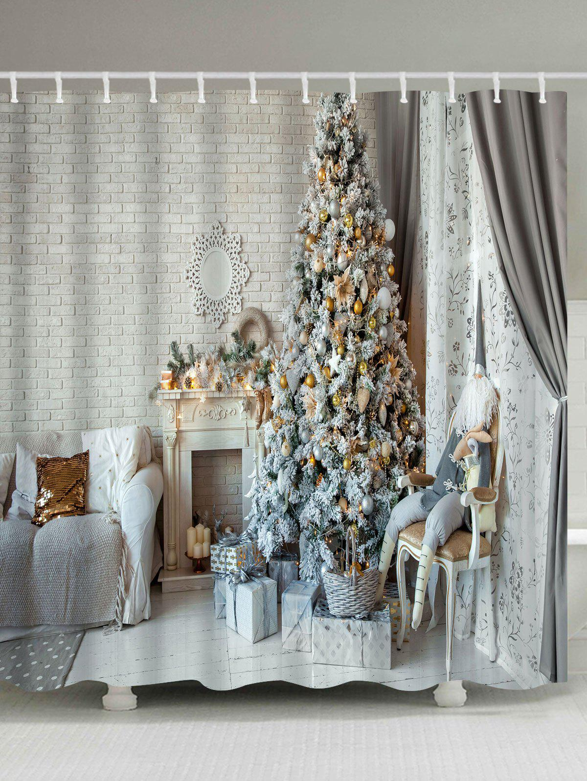 Christmas Tree Fireplace Print Waterproof Bath CurtainHOME<br><br>Size: W71 INCH * L79 INCH; Color: COLORMIX; Products Type: Shower Curtains; Materials: Polyester; Pattern: Christmas Tree; Style: Festival; Number of Hook Holes: W59 inch*L71 inch: 10; W71 inch*L71 inch: 12; W71 inch*L79 inch: 12; Package Contents: 1 x Shower Curtain 1 x Hooks (Set);