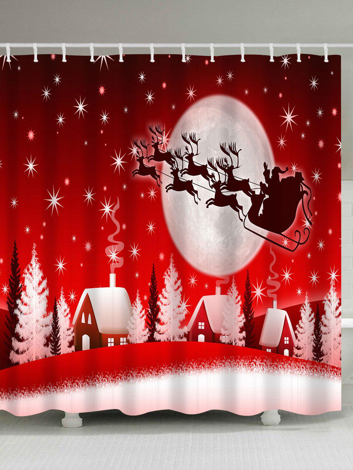 Christmas Sled Moon House Waterproof Bath CurtainHOME<br><br>Size: W71 INCH * L71 INCH; Color: RED; Products Type: Shower Curtains; Materials: Polyester; Pattern: Moon; Style: Festival; Number of Hook Holes: W59 inch*L71 inch: 10; W71 inch*L71 inch: 12; W71 inch*L79 inch: 12; Package Contents: 1 x Shower Curtain 1 x Hooks (Set);
