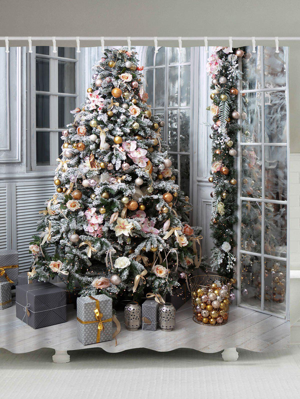 Christmas Tree Gift Printed Waterproof Bath CurtainHOME<br><br>Size: W71 INCH * L79 INCH; Color: COLORMIX; Products Type: Shower Curtains; Materials: Polyester; Pattern: Christmas Tree,Gift; Style: Festival; Number of Hook Holes: W59 inch*L71 inch: 10; W71 inch*L71 inch: 12; W71 inch*L79 inch: 12; Package Contents: 1 x Shower Curtain 1 x Hooks (Set);