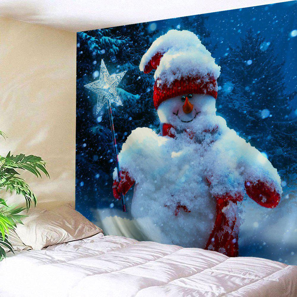 Magic Stick Christmas Snowman Wall Hanging TapestryHOME<br><br>Size: W59 INCH * L51 INCH; Color: BLUE; Style: Festival; Theme: Christmas; Material: Polyester; Feature: Removable,Washable; Shape/Pattern: Snowman; Weight: 0.1800kg; Package Contents: 1 x Tapestry;