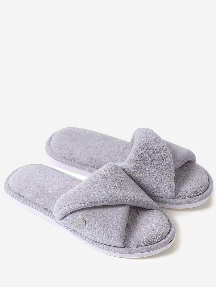 Unique Open Toe Faux Shearling Fluffy Slippers