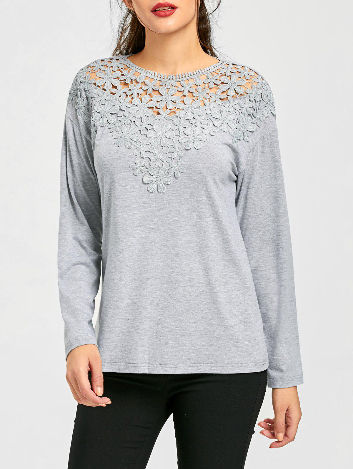 Lace Panel Cutwork Marled TopWOMEN<br><br>Size: M; Color: GRAY; Material: Rayon,Spandex; Shirt Length: Regular; Sleeve Length: Full; Collar: Crew Neck; Style: Casual; Embellishment: Lace; Pattern Type: Floral; Season: Fall,Spring; Weight: 0.2700kg; Package Contents: 1 x Top;