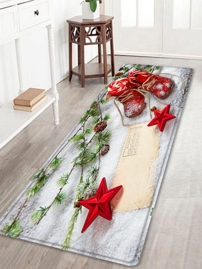 Christmas Snowfield Shoes Pattern Anti-skid Water Absorption Area RugHOME<br><br>Size: W16 INCH * L47 INCH; Color: RED; Products Type: Bath rugs; Materials: Flannel; Pattern: Plant,Star; Style: Festival; Shape: Rectangle; Package Contents: 1 x Rug;