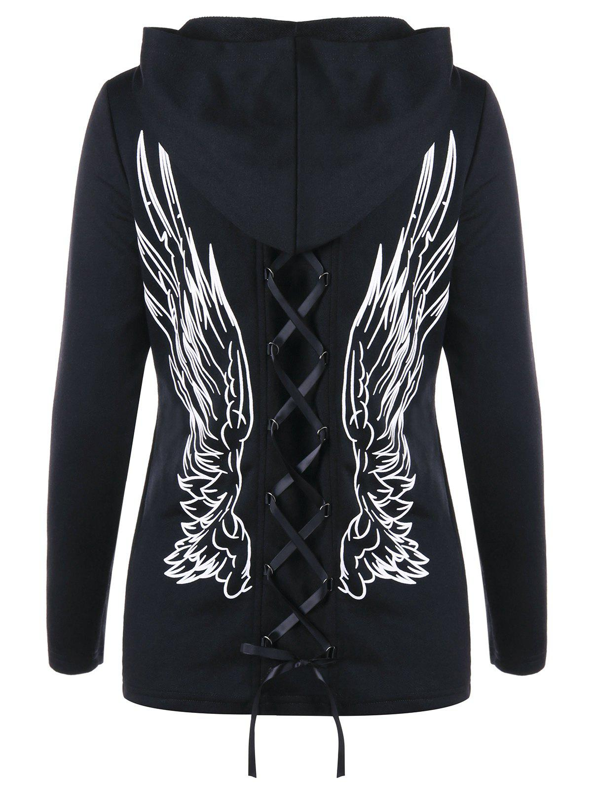 Zip Up Wings Print Double Lace-up HoodieWOMEN<br><br>Size: L; Color: BLACK; Material: Polyester; Shirt Length: Regular; Sleeve Length: Full; Style: Fashion; Pattern Style: Others; Season: Fall,Spring; Weight: 0.4810kg; Package Contents: 1 x Hoodie;