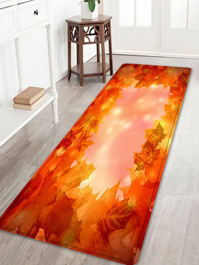 Maple Leaves Pattern Anti-skid Water Absorption Area RugHOME<br><br>Size: W16 INCH * L47 INCH; Color: LIGHT RED; Products Type: Bath rugs; Materials: Flannel; Pattern: Plant; Style: Natural; Shape: Rectangle; Package Contents: 1 x Rug;