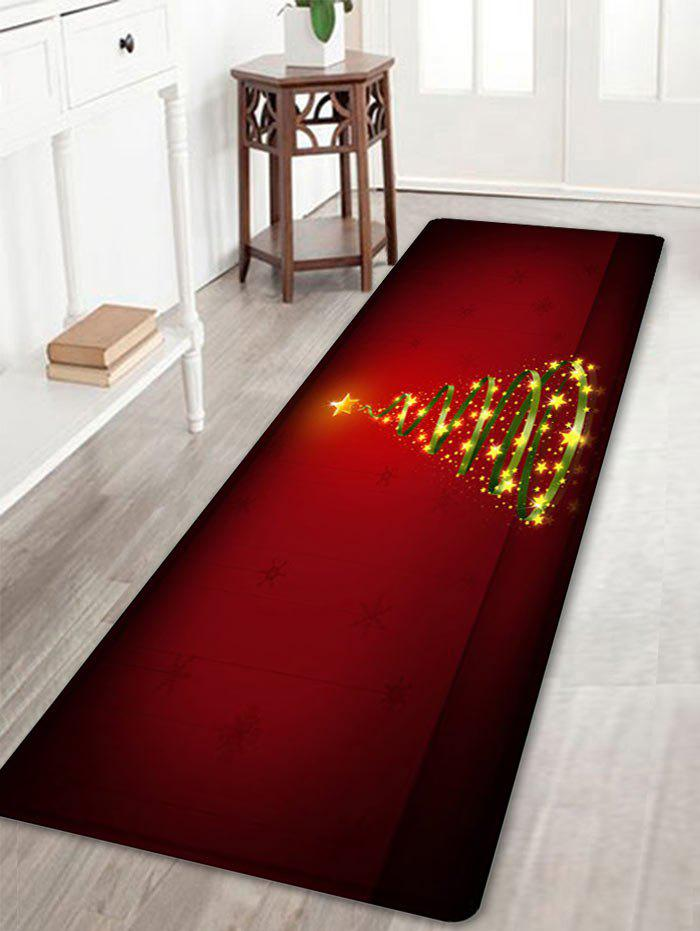 Christmas Star Tree Pattern Anti-skid Water Absorption Area RugHOME<br><br>Size: W16 INCH * L47 INCH; Color: RED; Products Type: Bath rugs; Materials: Flannel; Pattern: Star; Style: Festival; Shape: Rectangle; Package Contents: 1 x Rug;