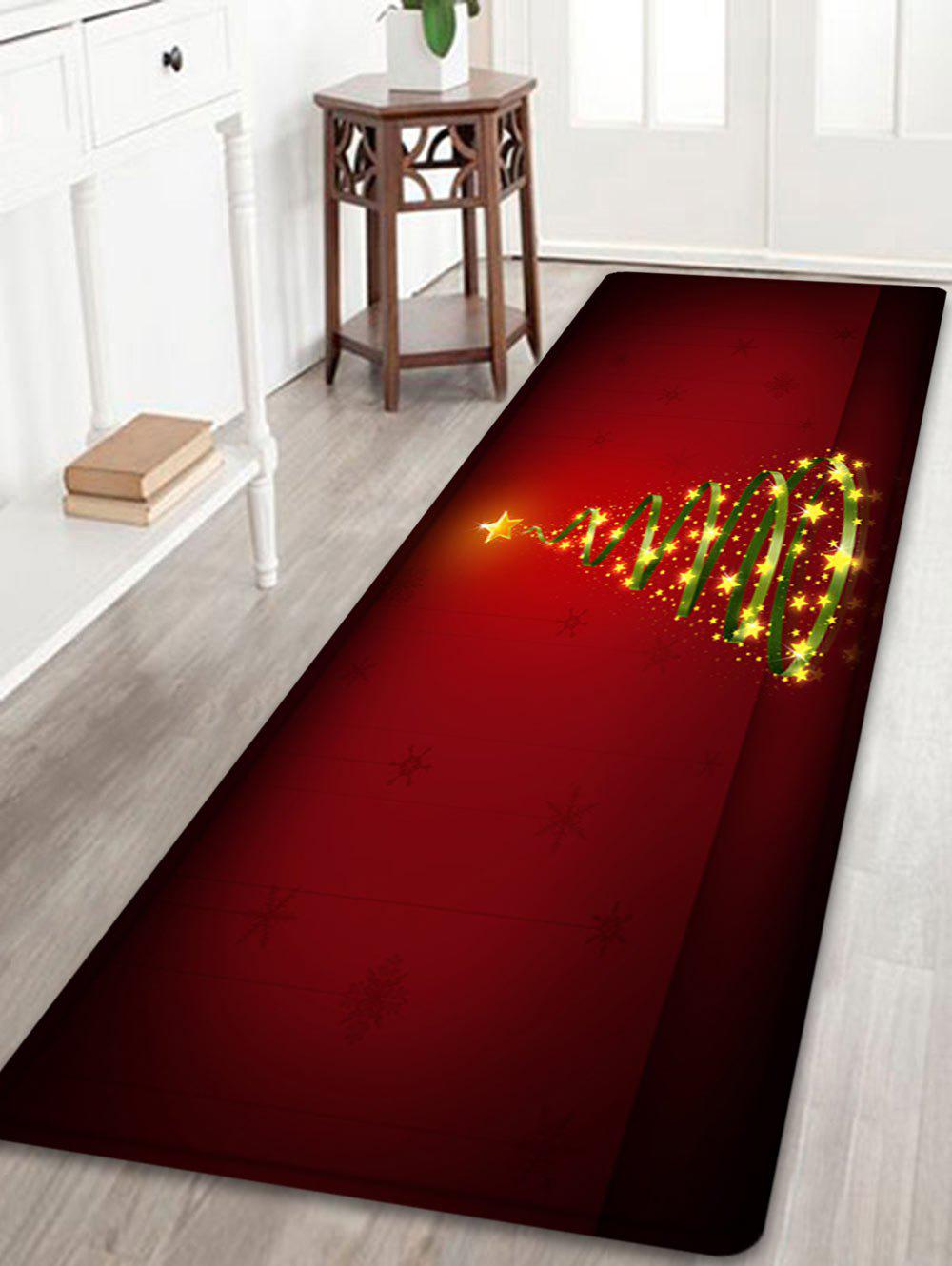 Christmas Star Tree Pattern Anti-skid Water Absorption Area RugHOME<br><br>Size: W24 INCH * L71 INCH; Color: RED; Products Type: Bath rugs; Materials: Flannel; Pattern: Star; Style: Festival; Shape: Rectangle; Package Contents: 1 x Rug;