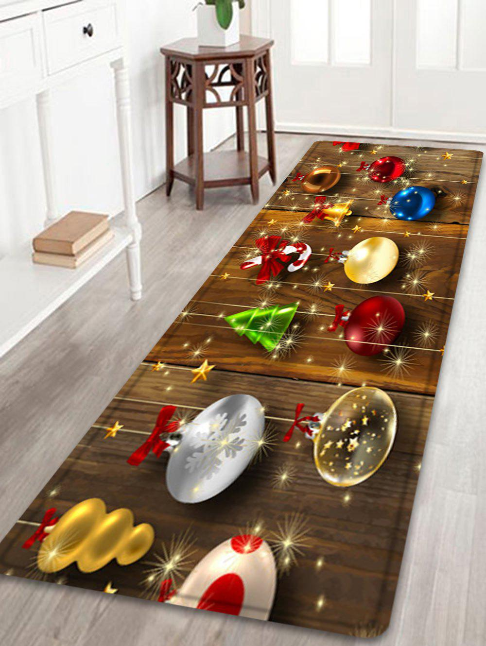 Christmas Baubles Wood Pattern Anti-skid Water Absorption Area RugHOME<br><br>Size: W24 INCH * L71 INCH; Color: COLORMIX; Products Type: Bath rugs; Materials: Flannel; Pattern: Ball,Wood Grain; Style: Festival; Shape: Rectangle; Package Contents: 1 x Rug;