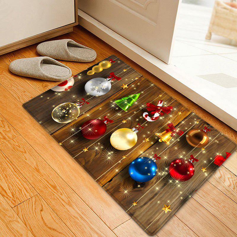 Christmas Baubles Wood Pattern Anti-skid Water Absorption Area RugHOME<br><br>Size: W20 INCH * L31.5 INCH; Color: COLORMIX; Products Type: Bath rugs; Materials: Flannel; Pattern: Ball,Wood Grain; Style: Festival; Shape: Rectangle; Package Contents: 1 x Rug;