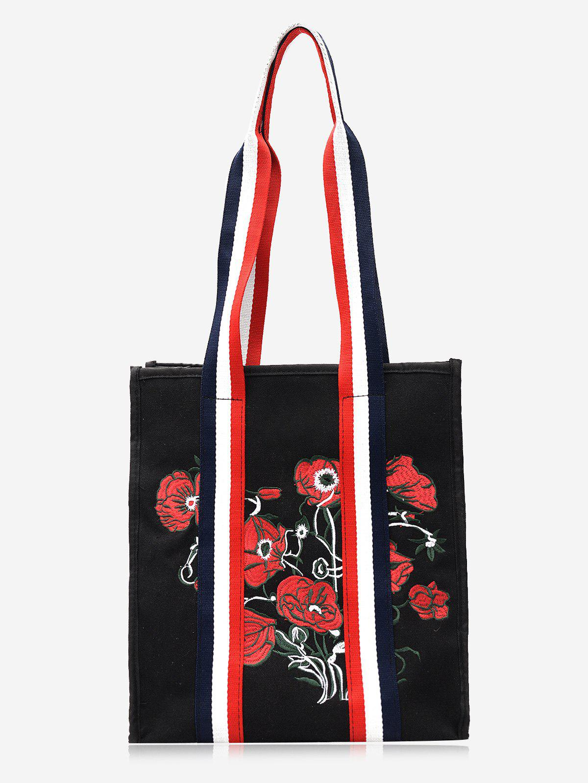 Latest Color Block Striped Embroidery Flower Handbag