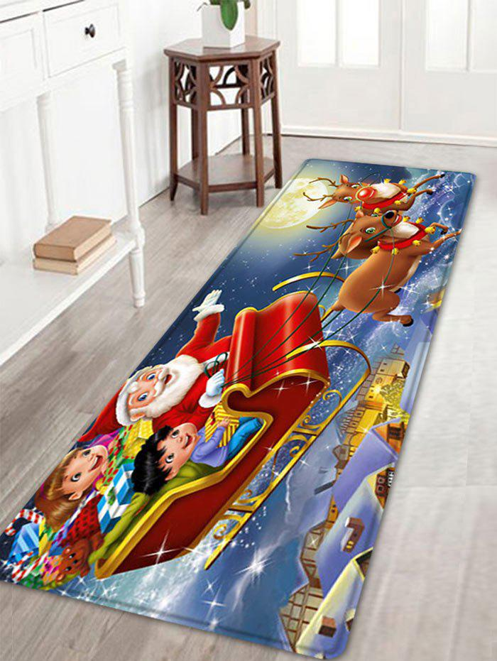 Christmas Night Santa Sleigh Pattern Anti-skid Water Absorption Area RugHOME<br><br>Size: W16 INCH * L47 INCH; Color: RED; Products Type: Bath rugs; Materials: Flannel; Pattern: Moon,Santa Claus; Style: Festival; Shape: Rectangle; Package Contents: 1 x Rug;