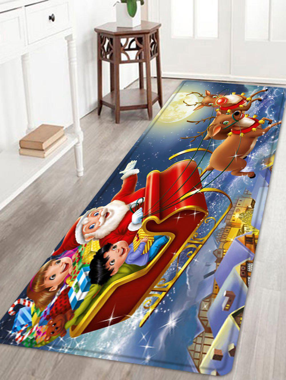 Christmas Night Santa Sleigh Pattern Anti-skid Water Absorption Area RugHOME<br><br>Size: W24 INCH * L71 INCH; Color: RED; Products Type: Bath rugs; Materials: Flannel; Pattern: Moon,Santa Claus; Style: Festival; Shape: Rectangle; Package Contents: 1 x Rug;