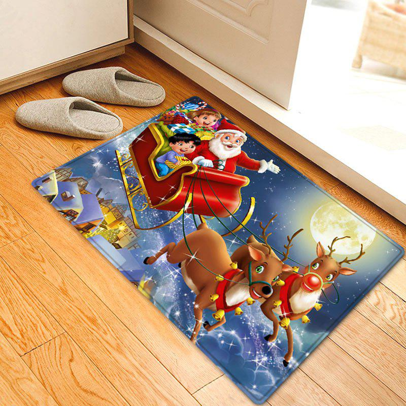 Christmas Night Santa Sleigh Pattern Anti-skid Water Absorption Area RugHOME<br><br>Size: W16 INCH * L24 INCH; Color: RED; Products Type: Bath rugs; Materials: Flannel; Pattern: Moon,Santa Claus; Style: Festival; Shape: Rectangle; Package Contents: 1 x Rug;