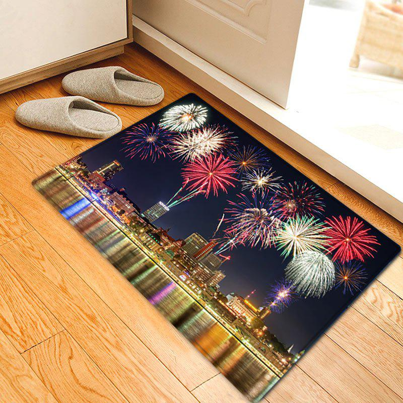 Affordable City Firework Pattern Anti-skid Water Absorption Area Rug