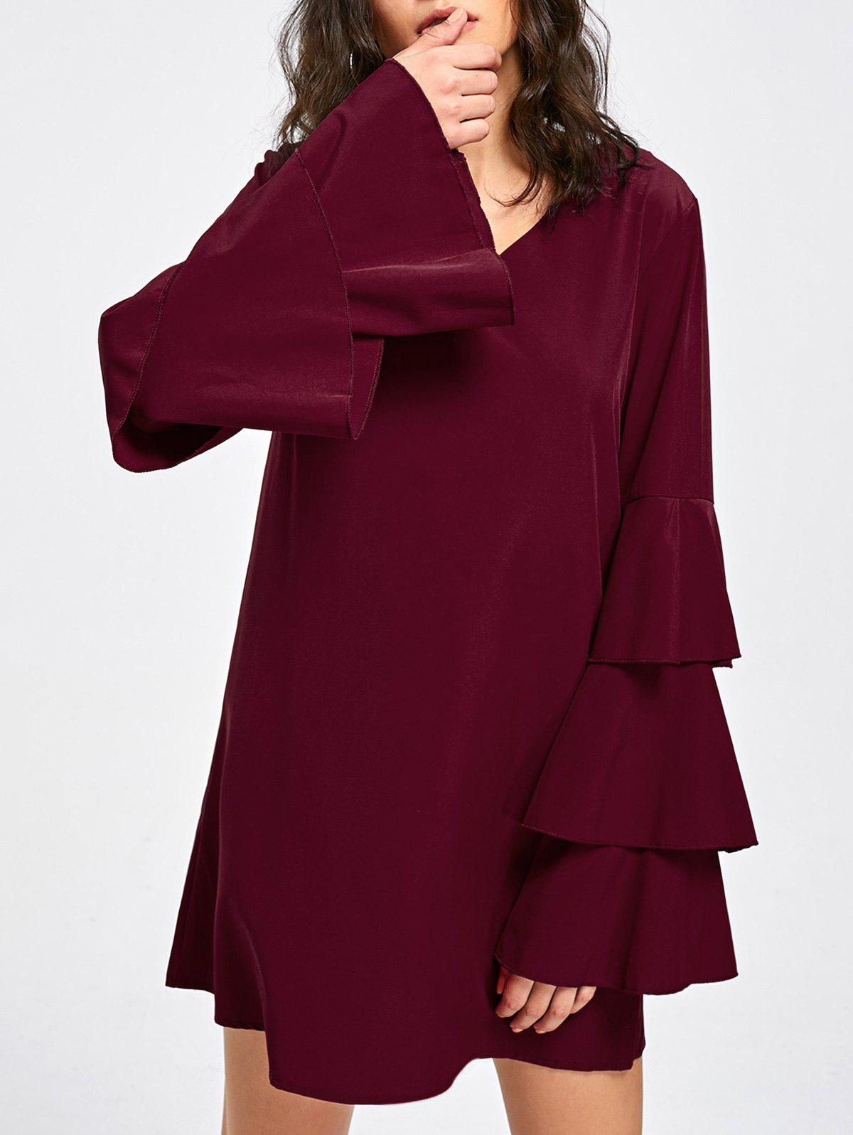 Hot Layered Flare Sleeve V Neck Dress