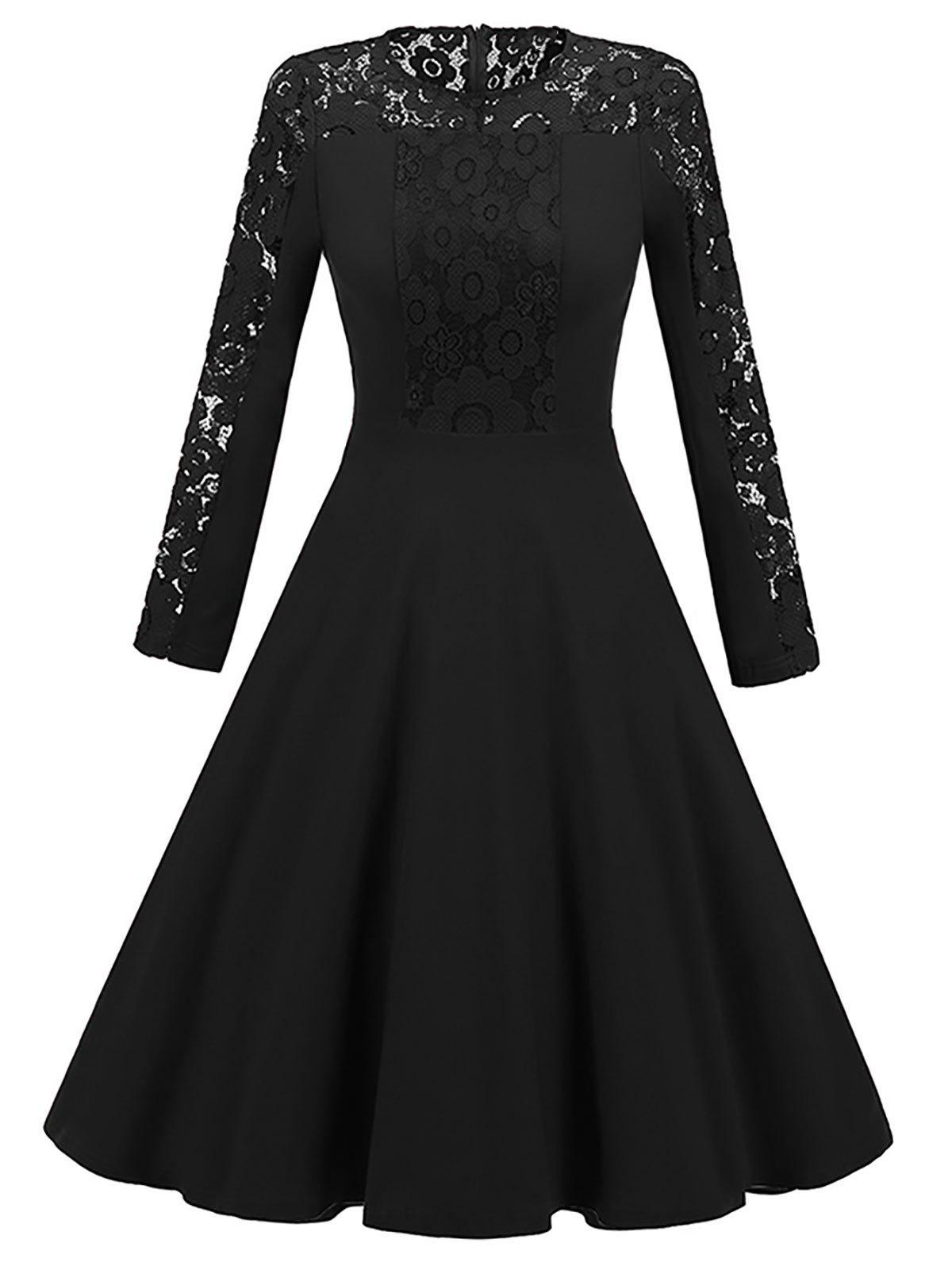 Long Sleeve Lace Insert Vintage Skater DressWOMEN<br><br>Size: 2XL; Color: BLACK; Style: Vintage; Material: Polyester; Silhouette: A-Line; Dresses Length: Knee-Length; Neckline: Round Collar; Sleeve Length: Long Sleeves; Pattern Type: Patchwork,Solid; With Belt: No; Season: Fall,Spring; Weight: 0.4200kg; Package Contents: 1 x Dress;