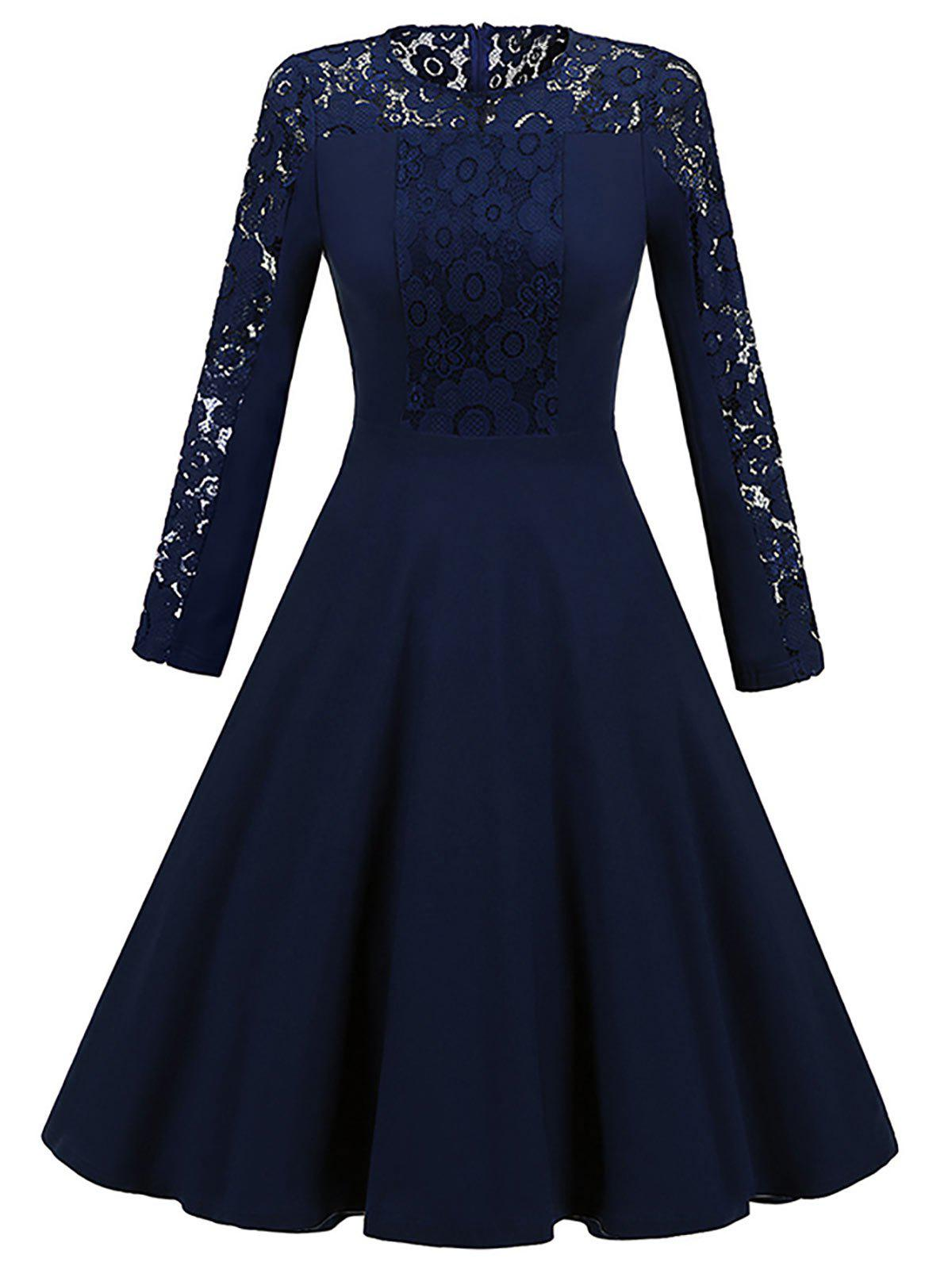 Long Sleeve Lace Insert Vintage Skater DressWOMEN<br><br>Size: XL; Color: PURPLISH BLUE; Style: Vintage; Material: Polyester; Silhouette: A-Line; Dresses Length: Knee-Length; Neckline: Round Collar; Sleeve Length: Long Sleeves; Pattern Type: Patchwork,Solid; With Belt: No; Season: Fall,Spring; Weight: 0.4200kg; Package Contents: 1 x Dress;