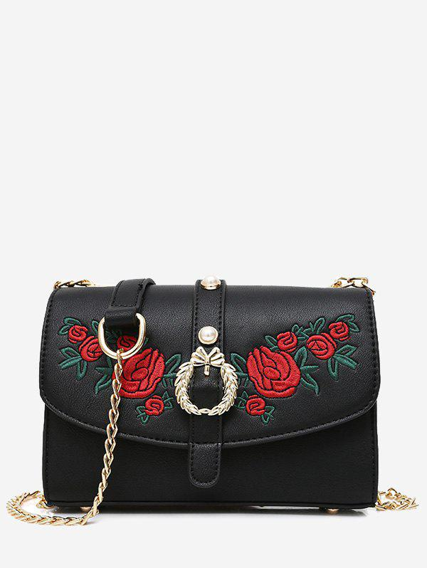 Latest Metal Detailed Embroidery Faux Pearl Crossbody Bag