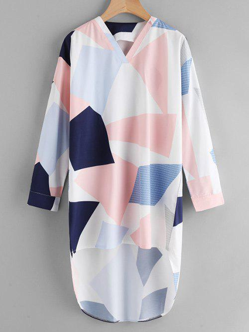 Shops V Neck Geometric Print High Low Shirt