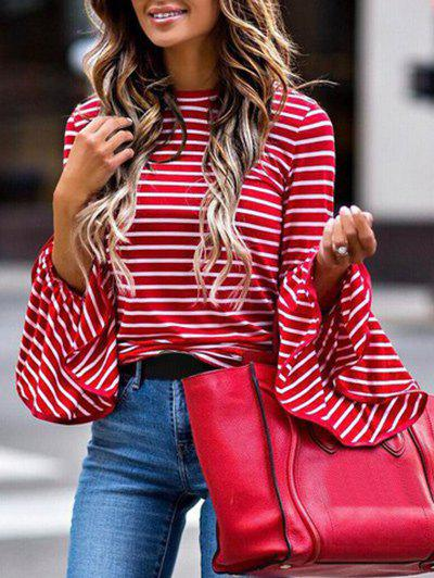 Cheap Striped Bell Sleeve Crew Neck Tee