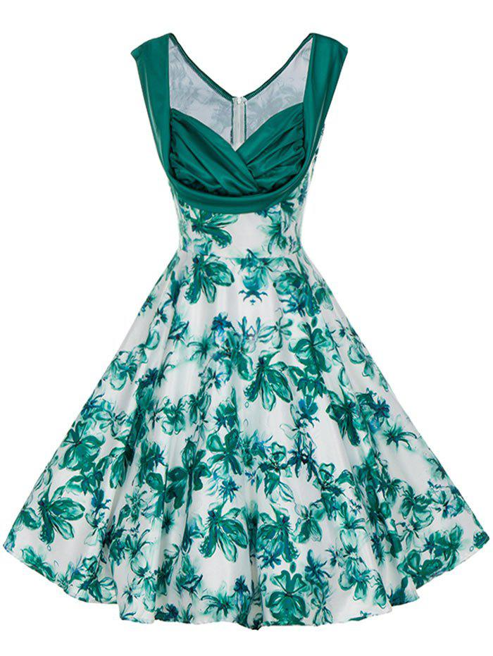 Unique Vintage Floral Print Pin Up Skater Dress