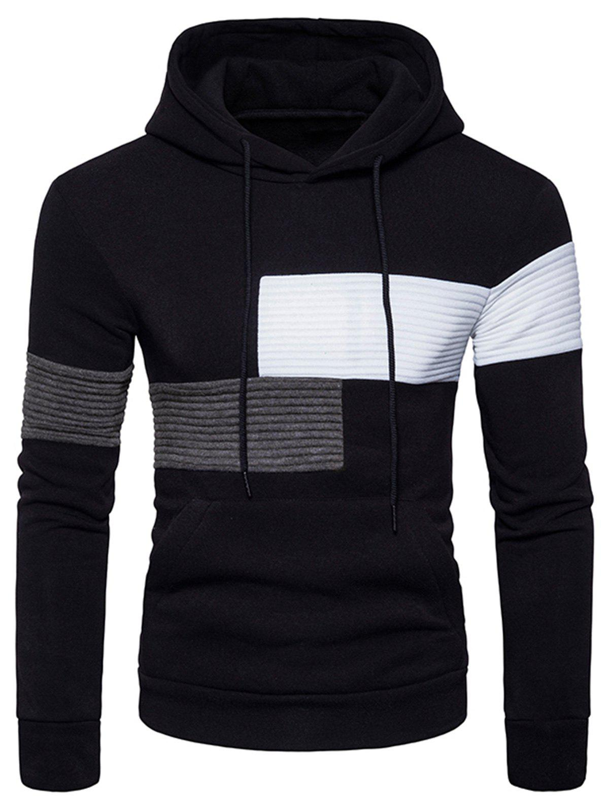 Outfit Color Block Rib Panel Fleece Pullover Hoodie
