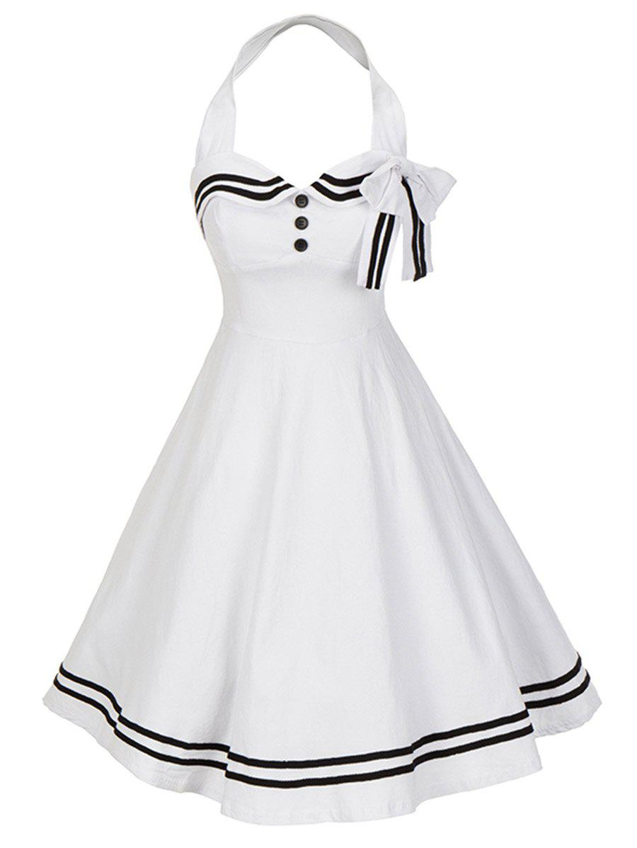 Vintage Bowknot Backless Halter Skater Pin Up DressWOMEN<br><br>Size: S; Color: WHITE; Style: Vintage; Material: Cotton,Polyester; Silhouette: A-Line; Dress Type: Fit and Flare Dress,Skater Dress; Dresses Length: Knee-Length; Neckline: Halter; Sleeve Length: Sleeveless; Pattern Type: Striped; With Belt: No; Season: Fall,Spring; Weight: 0.5700kg; Package Contents: 1 x Dress;