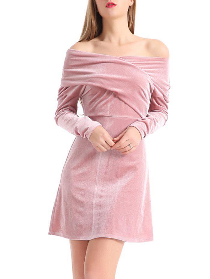 Best Off The Shoulder Velvet Long Sleeve Dress