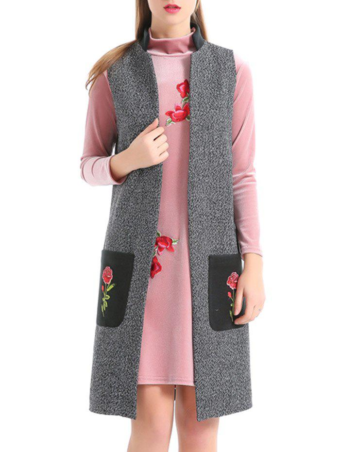 Online Embroidery Pockets Heathered Longline Waistcoat
