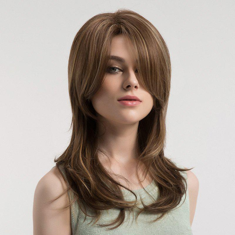 Shops Inclined Bang Long Straight Colormix Synthetic Wig