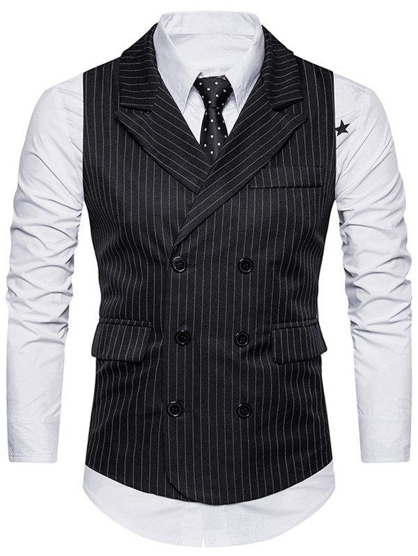 Double Breasted Belt Vertical Stripe WaistcoatMEN<br><br>Size: S; Color: BLACK; Material: Cotton,Polyester; Style: Fashion; Shirt Length: Regular; Collar: Turn-down Collar; Thickness: Standard; Closure Type: Double Breasted; Weight: 0.3200kg; Package Contents: 1 x Waistcoat;