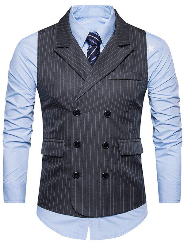 Double Breasted Belt Vertical Stripe WaistcoatMEN<br><br>Size: M; Color: DEEP GRAY; Material: Cotton,Polyester; Style: Fashion; Shirt Length: Regular; Collar: Turn-down Collar; Thickness: Standard; Closure Type: Double Breasted; Weight: 0.3200kg; Package Contents: 1 x Waistcoat;