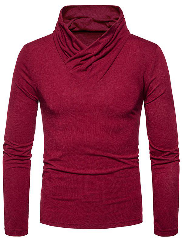 Classical Cowl Neck Long Sleeve T-shirtMEN<br><br>Size: M; Color: WINE RED; Material: Cotton,Polyester; Sleeve Length: Full; Collar: Cowl Neck; Style: Casual,Fashion,Streetwear; Pattern Type: Solid; Season: Fall,Winter; Weight: 0.3000kg; Package Contents: 1 x T-shirt;