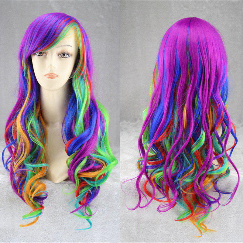 Sale Long Side Bang Fluffy Wavy Rainbow Synthetic Cosplay Anime Wig