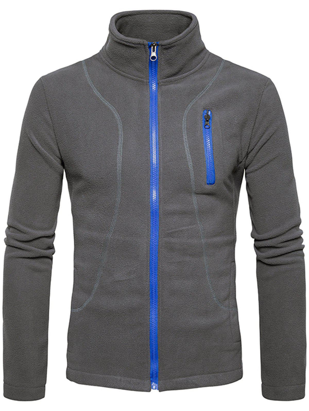 Cheap Stand Collar Suture Fleece Zip Up Jacket