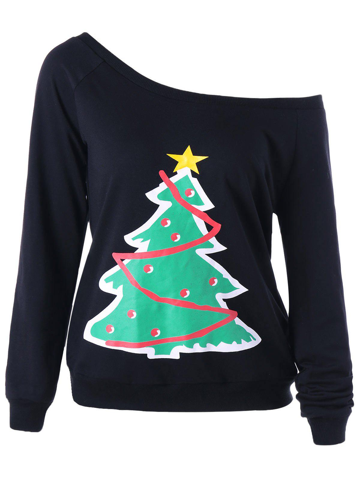 Ugly Christmas Tree One Shoulder SweatshirtWOMEN<br><br>Size: M; Color: BLACK; Material: Polyester; Shirt Length: Regular; Sleeve Length: Full; Collar: Convertible Collar; Style: Fashion; Pattern Type: Plant; Season: Fall,Spring; Weight: 0.3530kg; Package Contents: 1 x Sweatshirt;