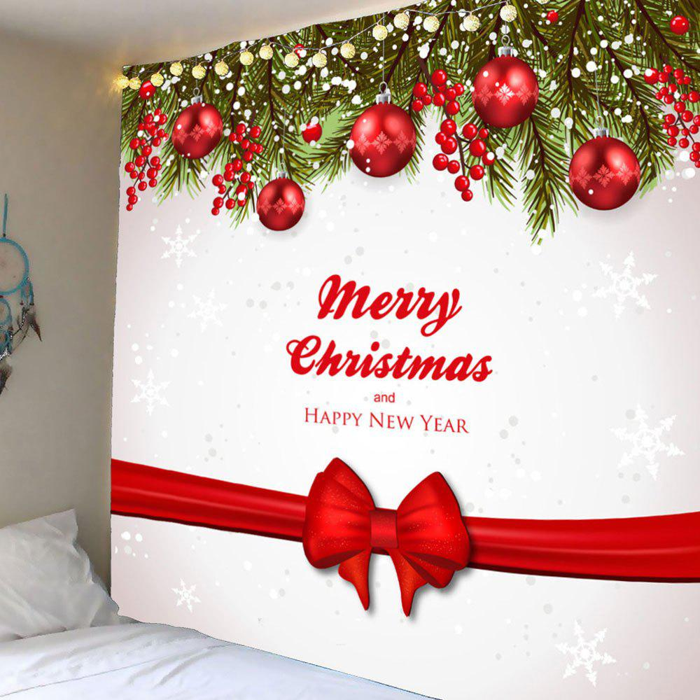 Wall Hanging Christmas Ribbon Balls Pattern Waterproof TapestryHOME<br><br>Size: W79 INCH * L79 INCH; Color: COLORFUL; Style: Festival; Theme: Christmas; Material: Polyester; Feature: Removable,Washable,Waterproof; Shape/Pattern: Ball; Weight: 0.4200kg; Package Contents: 1 x Tapestry;