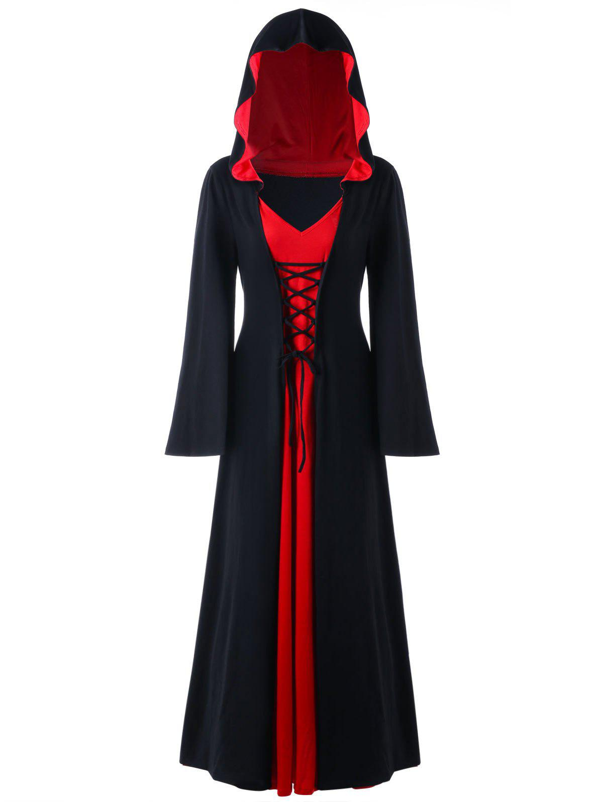 Halloween Plus Size Lace Up Hooded Maxi DressWOMEN<br><br>Size: 2XL; Color: RED WITH BLACK; Style: Novelty; Material: Polyester,Spandex; Silhouette: A-Line; Dresses Length: Ankle-Length; Neckline: Hooded; Sleeve Length: Long Sleeves; Pattern Type: Solid; With Belt: No; Season: Fall,Spring; Weight: 0.6700kg; Package Contents: 1 x Dress;