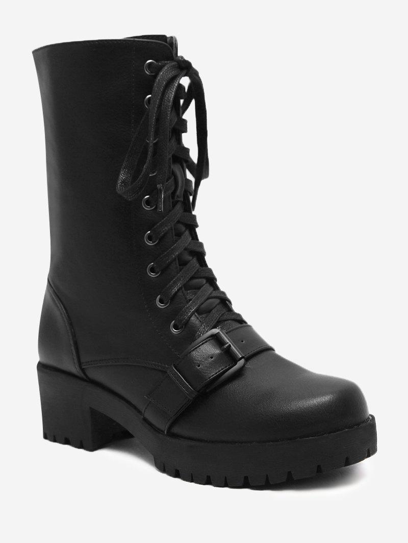 Outfit Lug Sole Buckle Strap Mid-calf Boots
