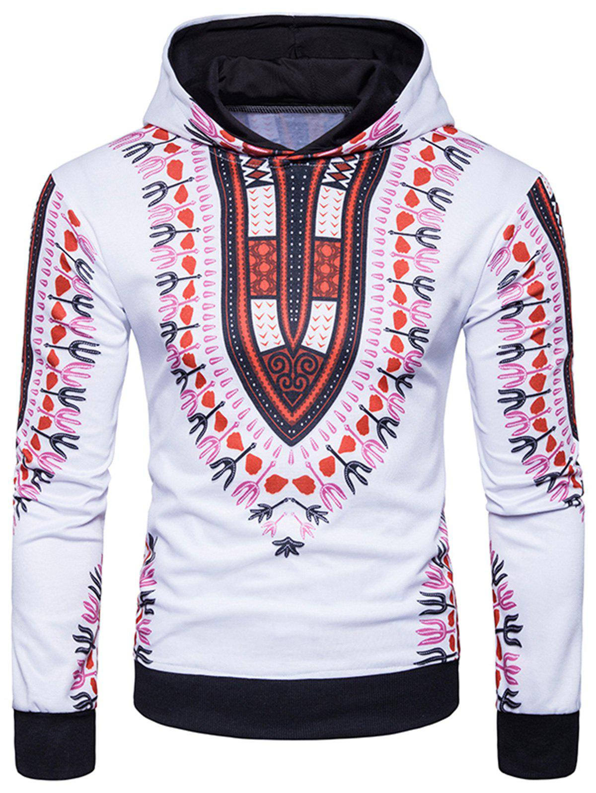 Shop Ethnic Style Florals Print Pullover Hoodie