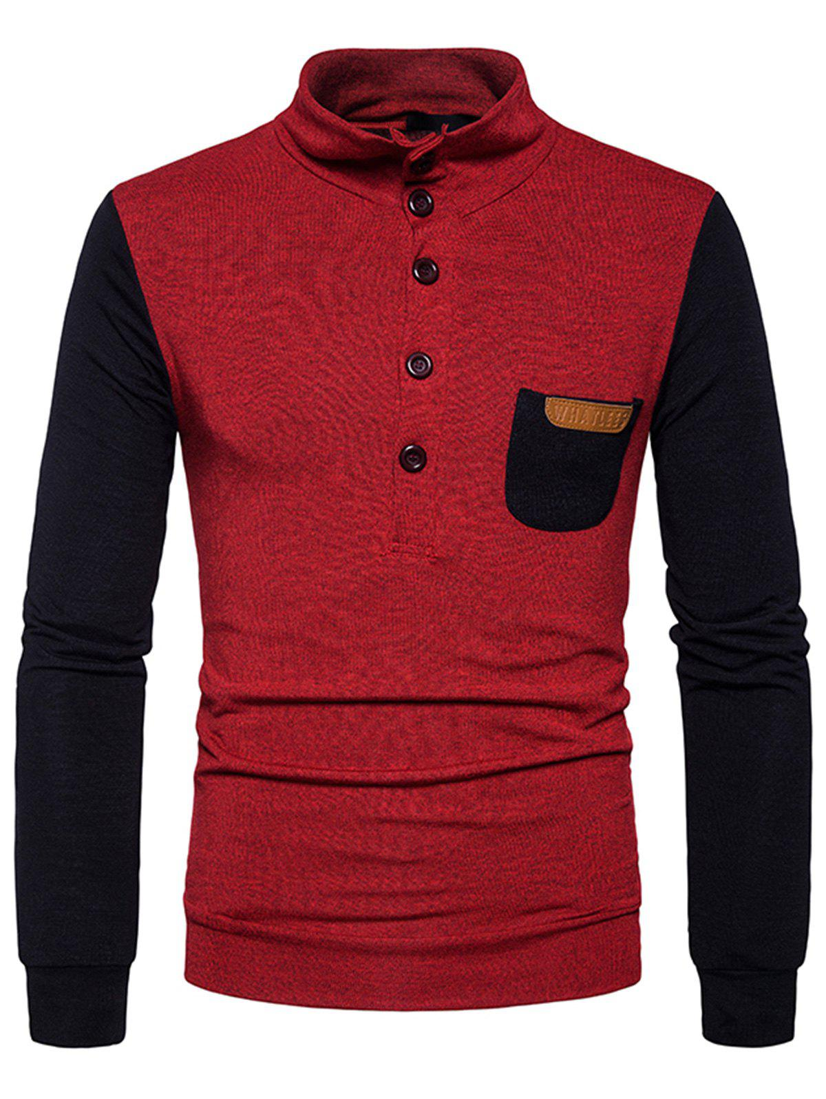 Cheap Buttons Color Block Pocket Sweater
