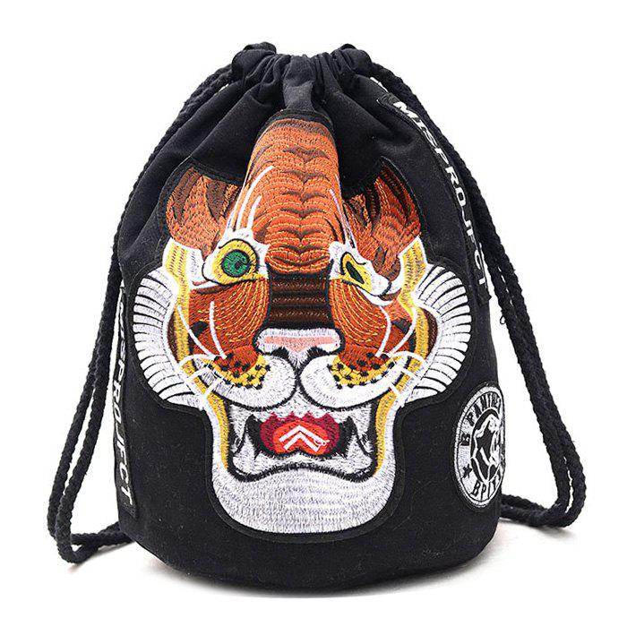 Store Tiger Embroidery String Canvas Backpack