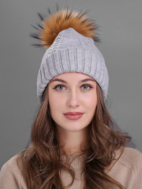 Latest Vintage Fuzzy Ball Embellished Flanging Knitted Beanie