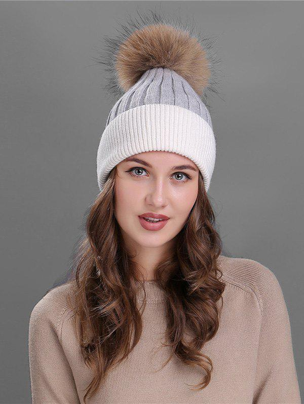 Online Vintage Fuzzy Ball Embellished Slouchy Beanie