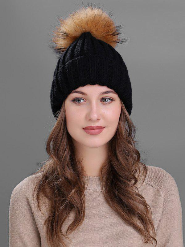 Fashion Outdoor Flanging Fur Pom Ball Knitted Beanie