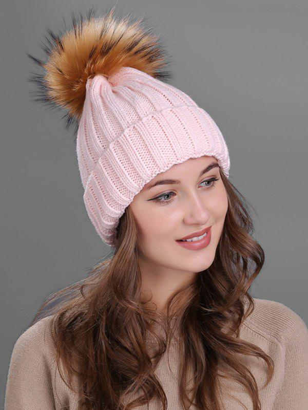 Buy Outdoor Flanging Fur Pom Ball Knitted Beanie