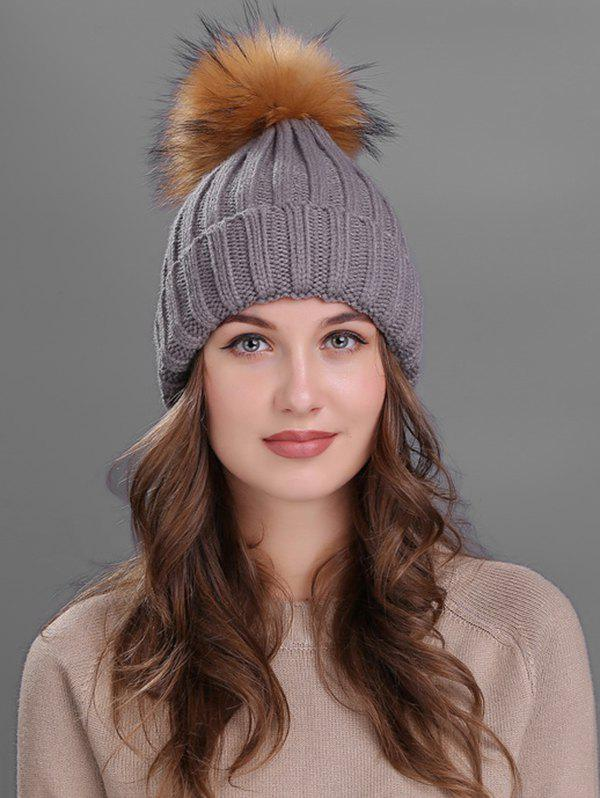 Unique Outdoor Flanging Fur Pom Ball Knitted Beanie